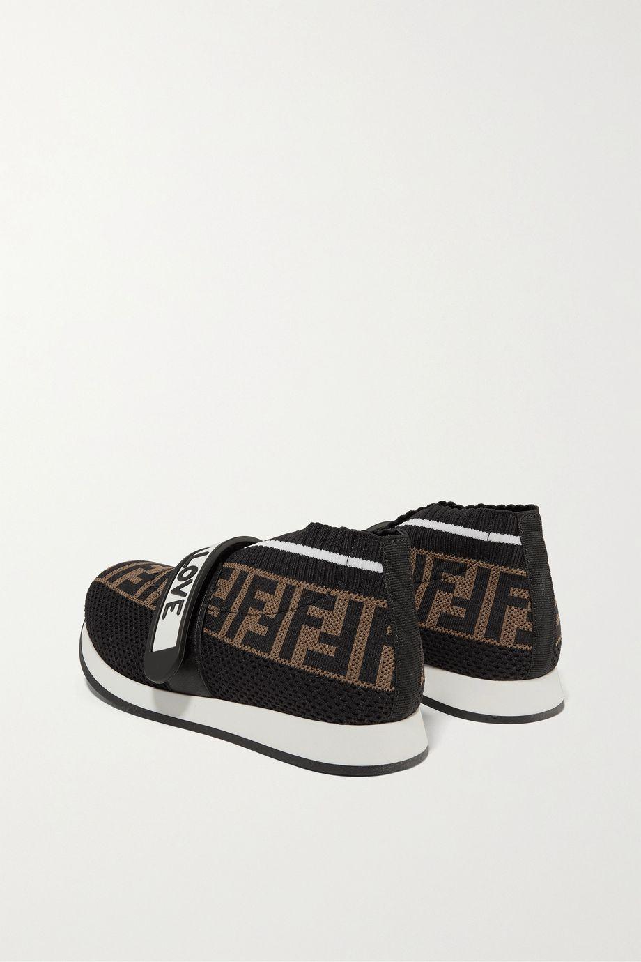 Fendi Kids 【32 - 35 码】品牌标志印花网眼氯丁橡胶运动鞋