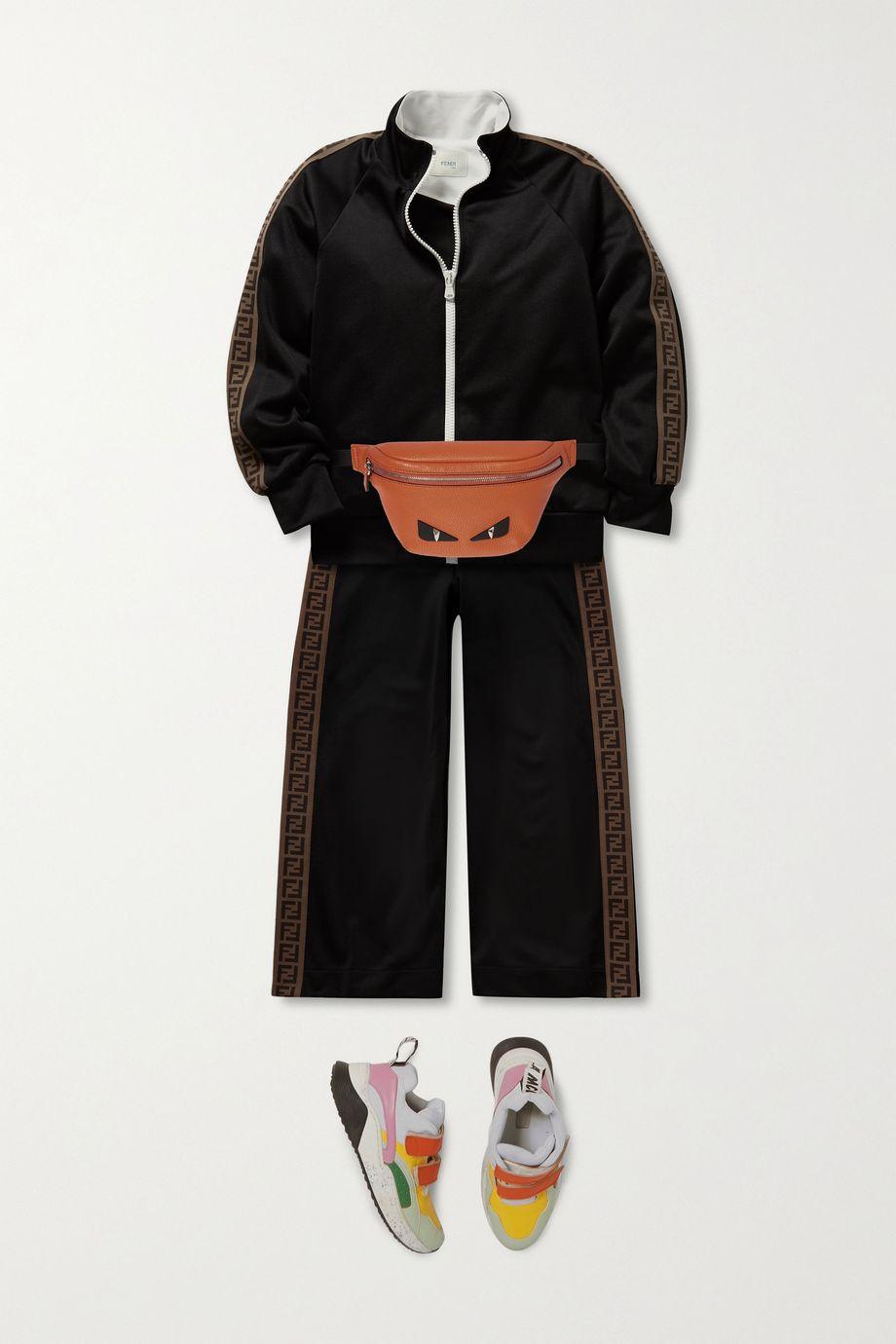 Fendi Kids Appliquéd textured-leather belt bag