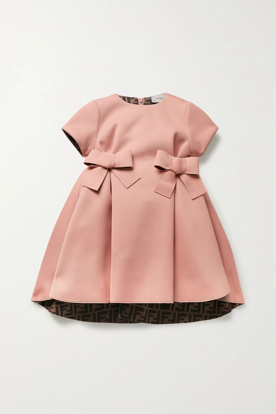 Fendi Kids Bow-embellished pleated neoprene dress