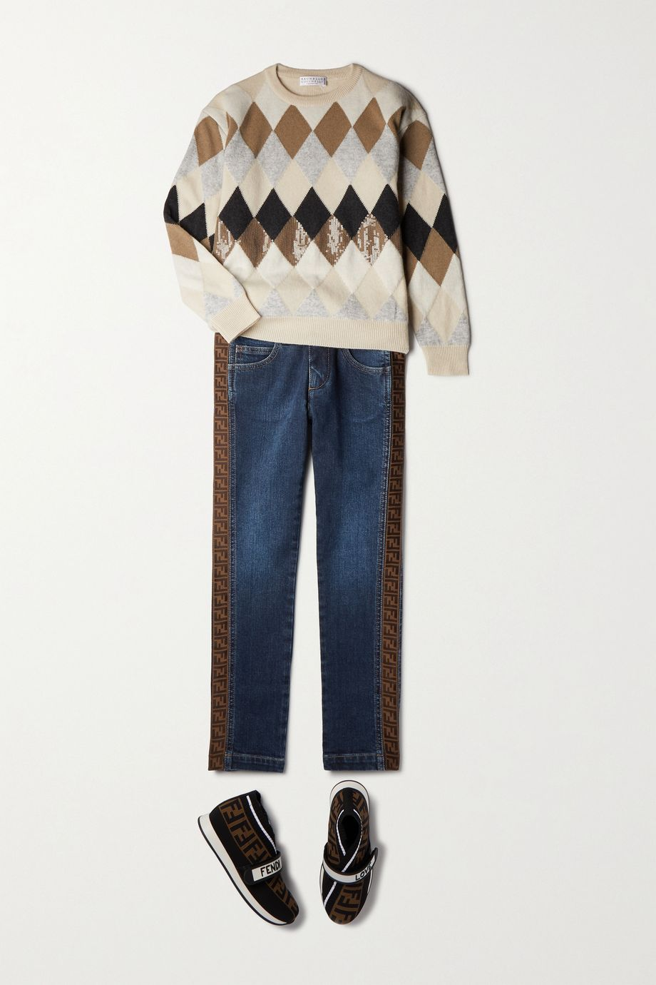 Fendi Kids Ages 8 - 12 jacquard-trimmed jeans