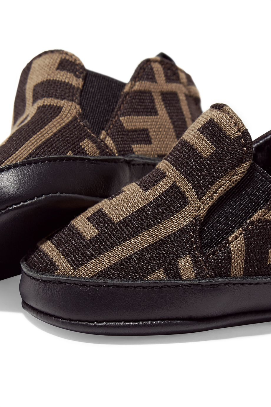 Fendi Kids Leather-trimmed jacquard-knit shoes