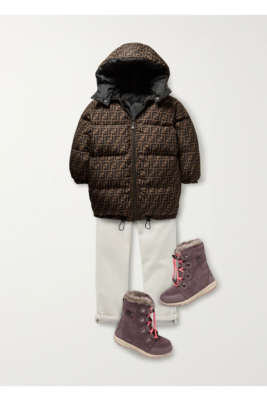 Fendi Kids Ages 3 - 7 reversible printed quilted shell down jacket