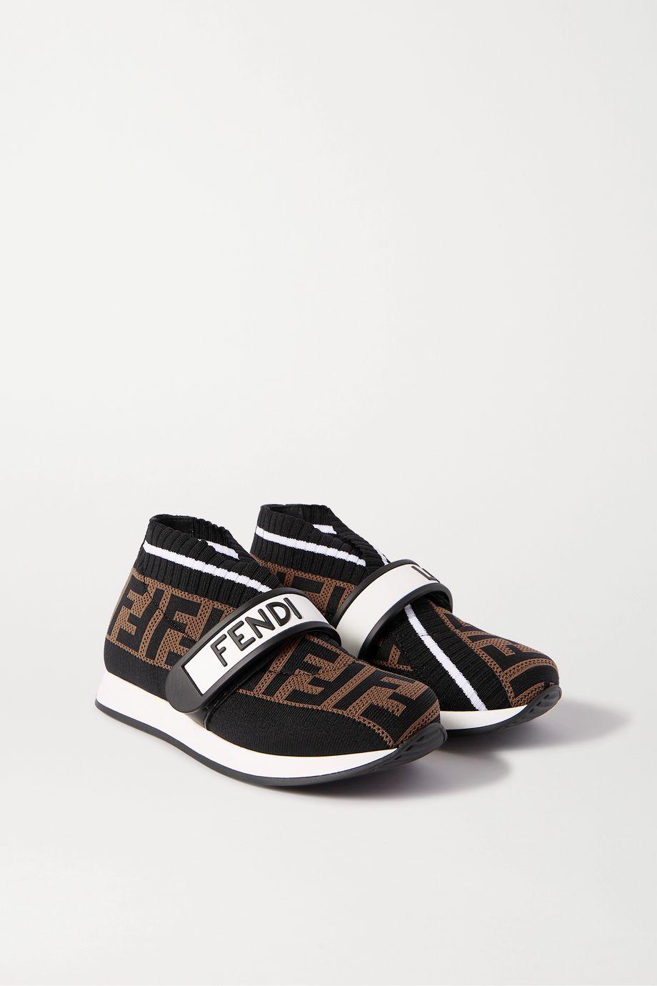 Fendi Kids Sizes 24-31 logo-print mesh and neoprene sneakers