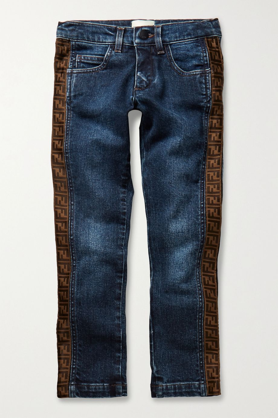 Fendi Kids Ages 3 - 7 jacquard-trimmed jeans