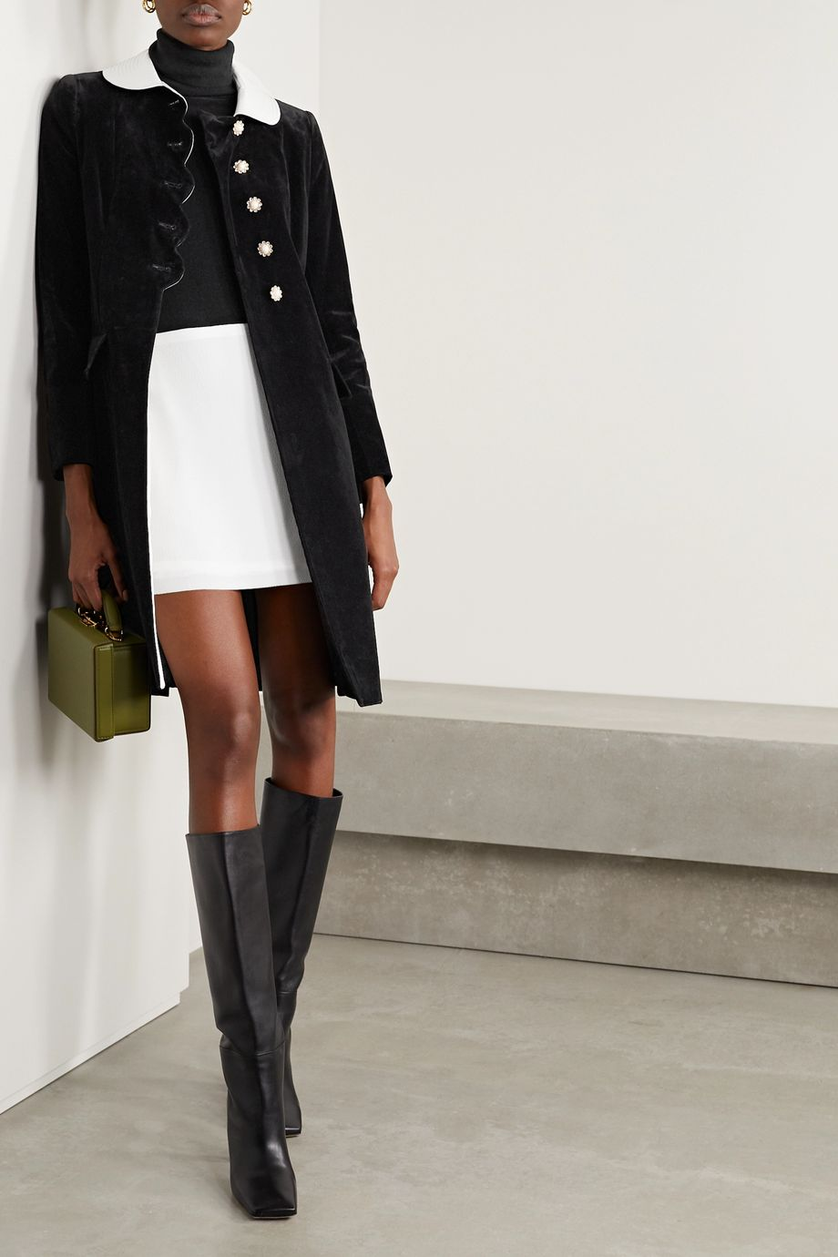 THE Marc Jacobs The Sunday Best satin-trimmed velvet-flocked denim coat