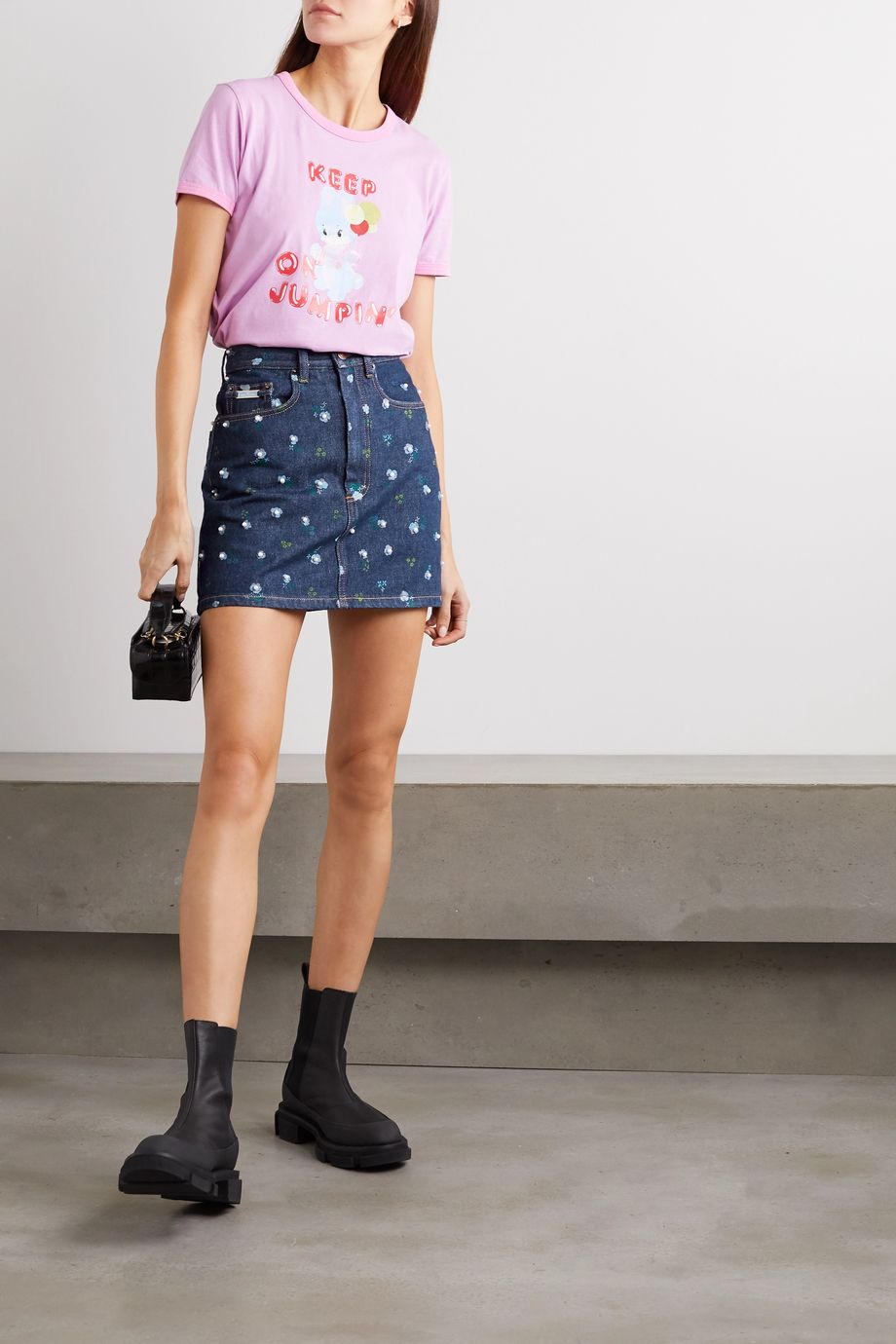 THE Marc Jacobs Floral-print denim mini skirt