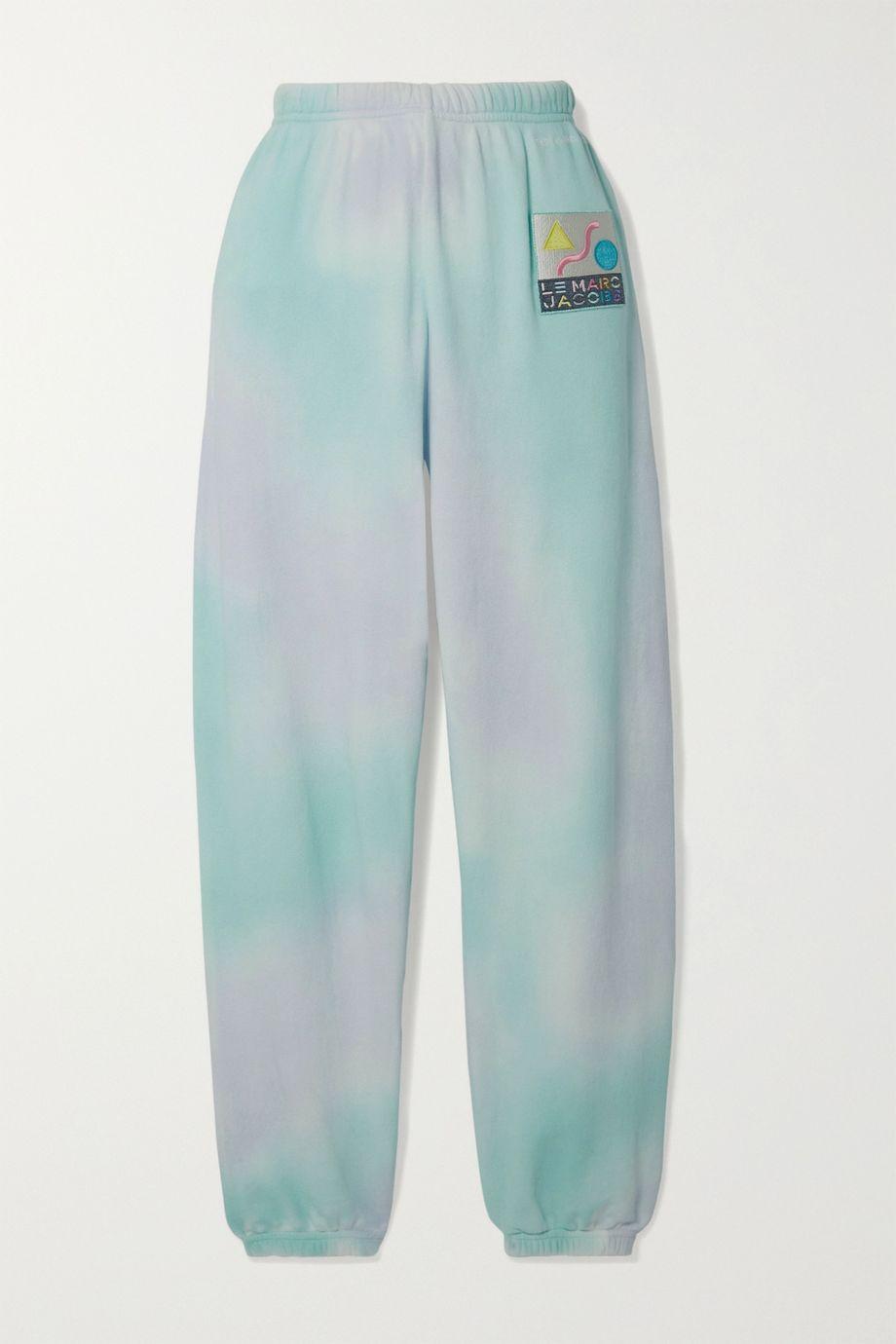 THE Marc Jacobs Appliquéd tie-dyed cotton-terry track pants