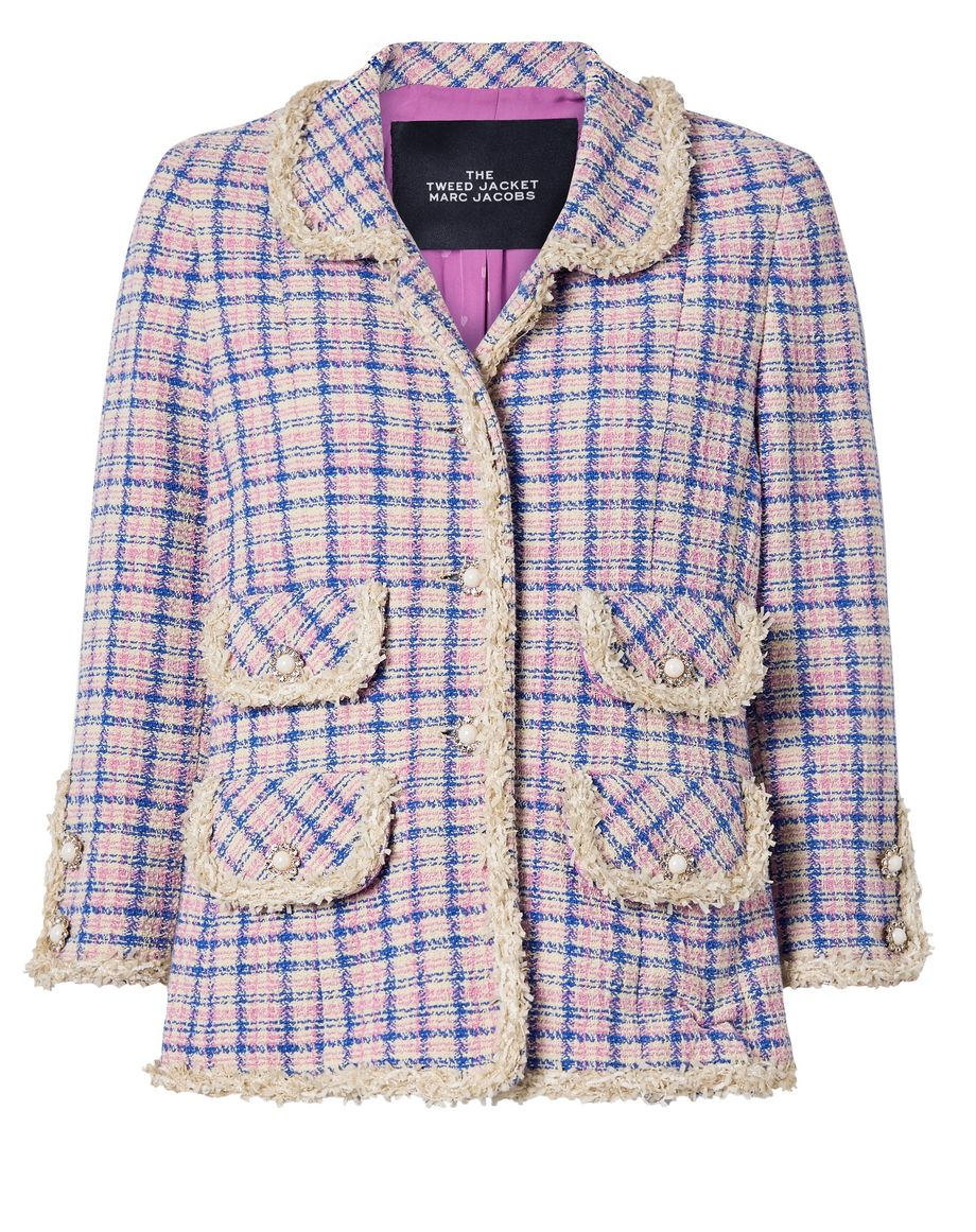 THE Marc Jacobs Frayed checked cotton-tweed jacket
