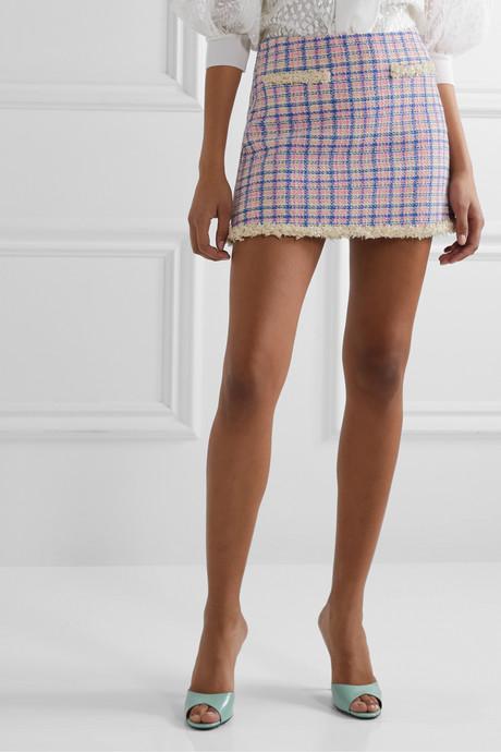 Frayed checked cotton-tweed mini skirt