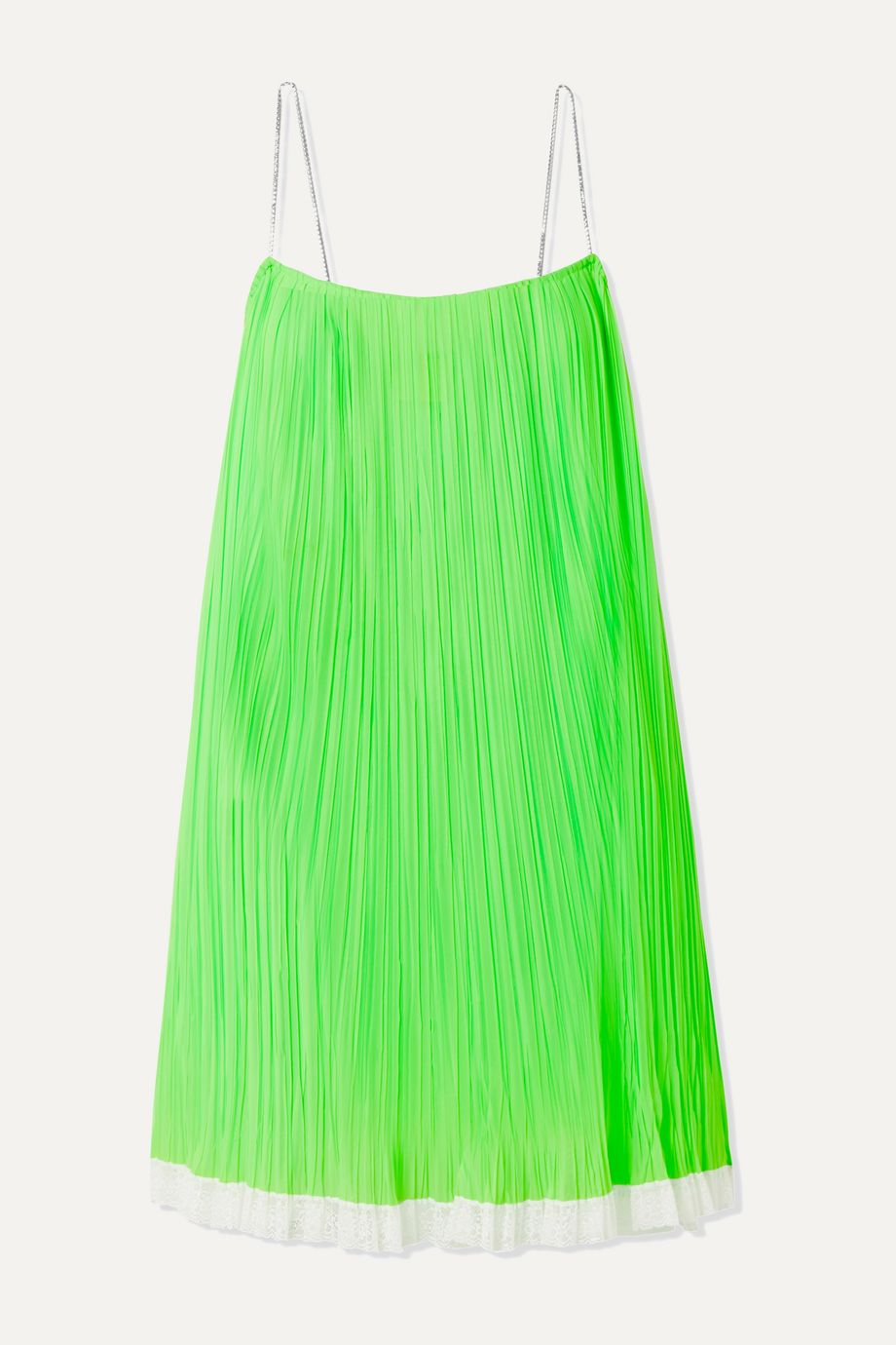 THE Marc Jacobs Crystal-embellished lace-trimmed pleated mesh mini dress