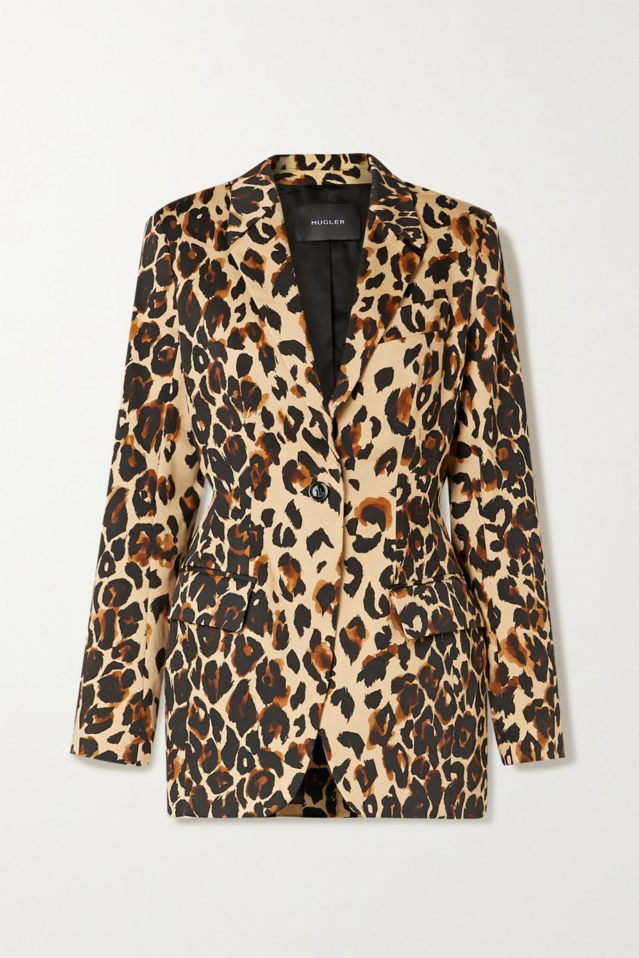 Mugler Leopard-print cotton-blend blazer
