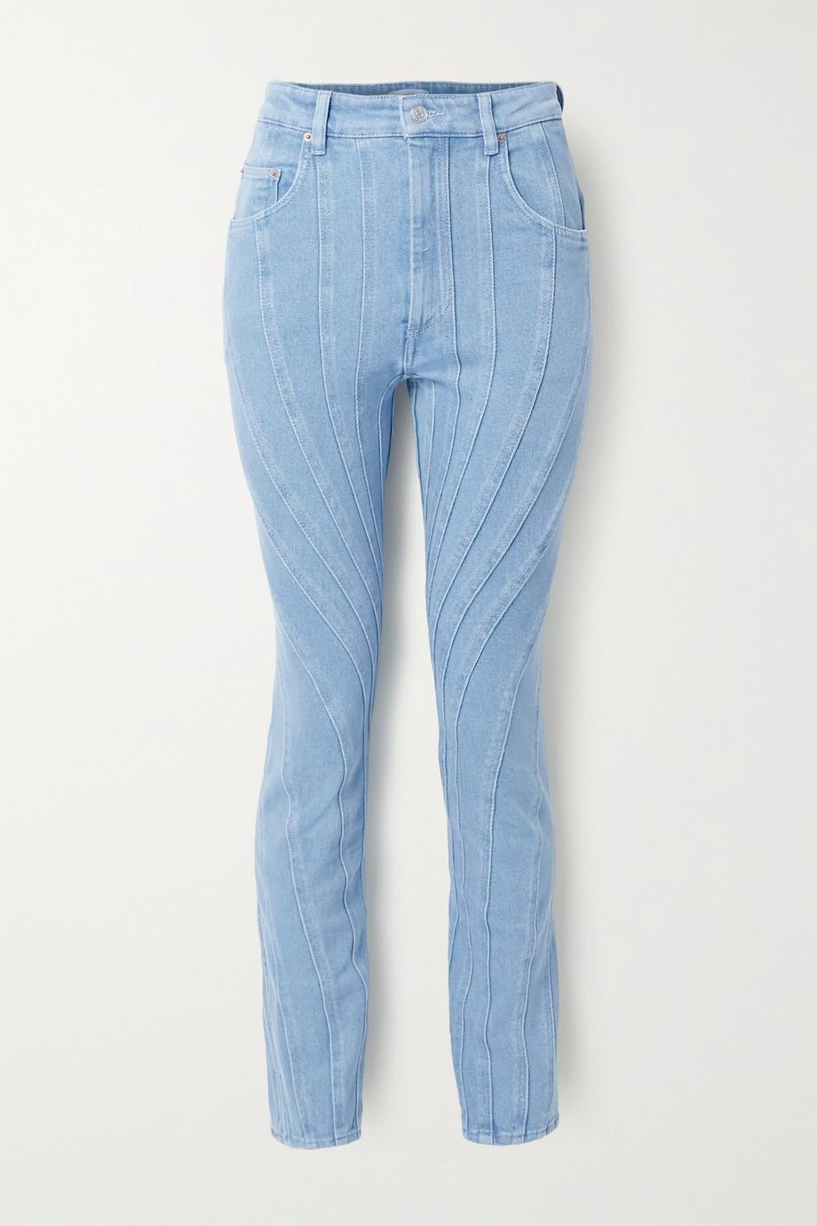 Mugler Paneled high-rise slim-leg jeans