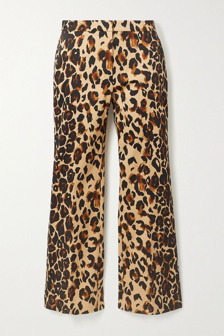 Mugler Cropped leopard-print cotton-blend flared pants