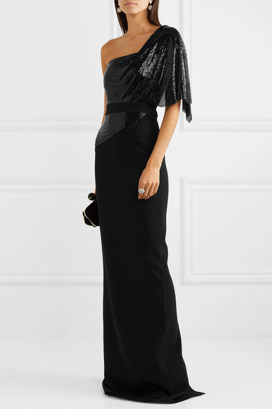 Safiyaa Meraki one-shoulder crepe and chainmail gown