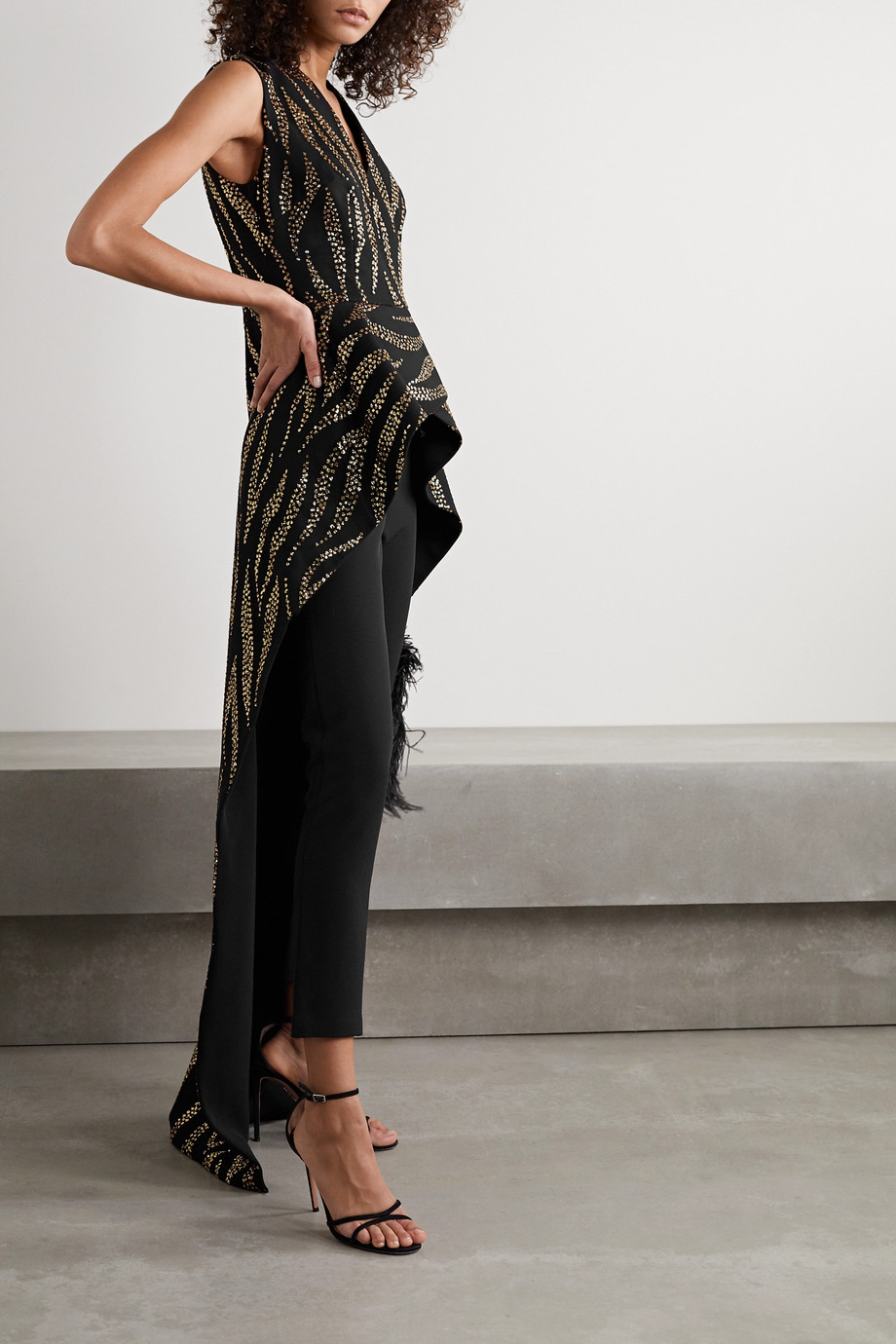 Safiyaa Florence draped glittered tulle top