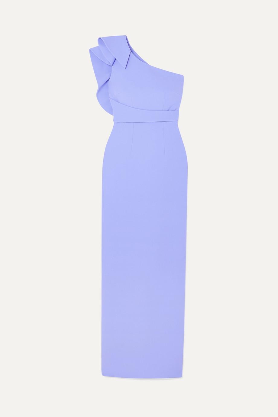 Safiyaa Ethera one-shoulder draped crepe gown