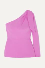 Safiyaa Rosita one-shoulder stretch-crepe peplum top