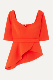 Safiyaa Pilar belted asymmetric stretch-crepe peplum top