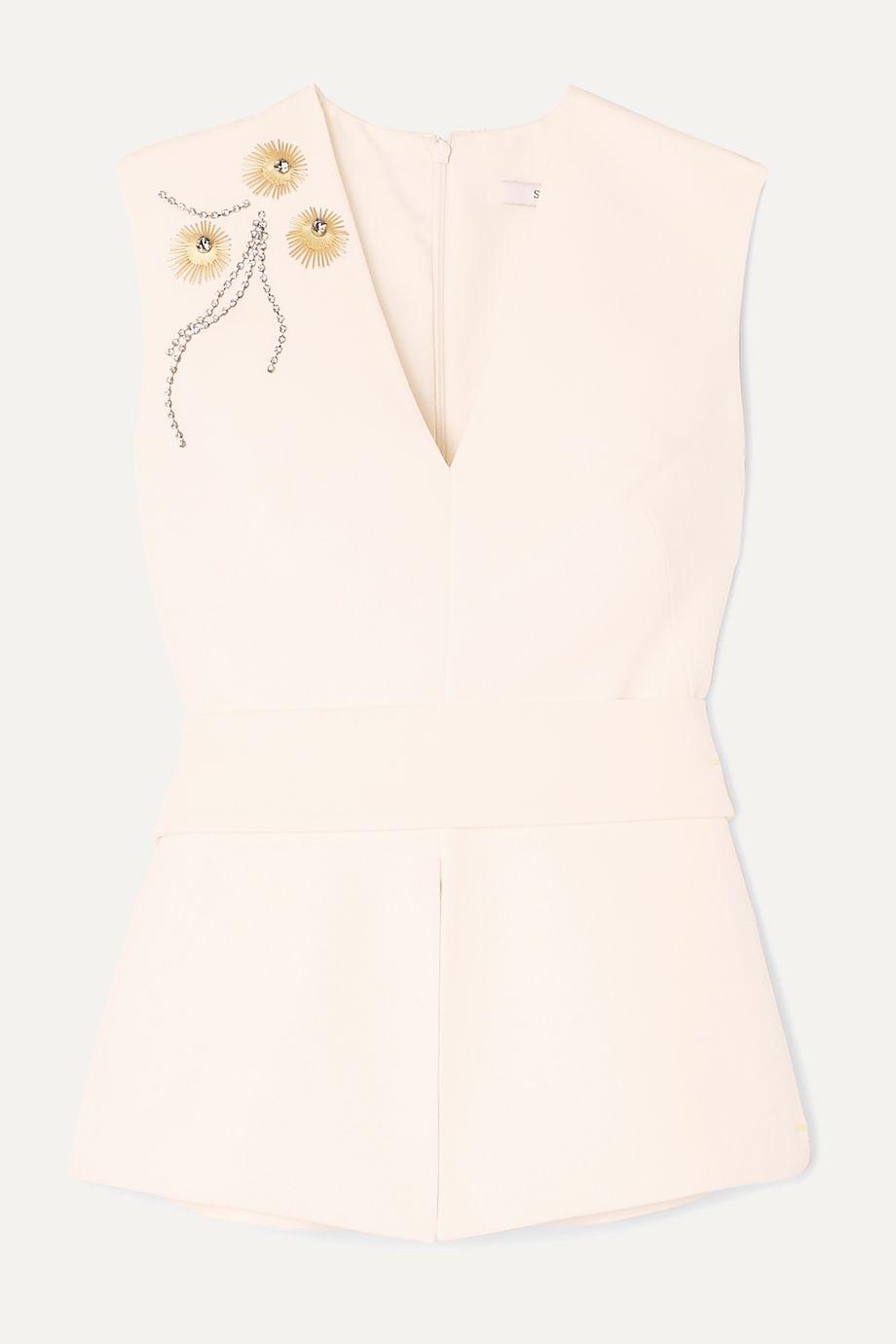 Safiyaa Doreen embellished belted stretch-crepe top