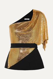 Safiyaa One-shoulder draped crepe and chainmail top