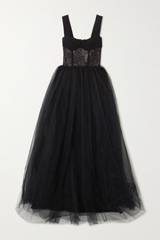 RASARIO Crepe, lace and tulle gown