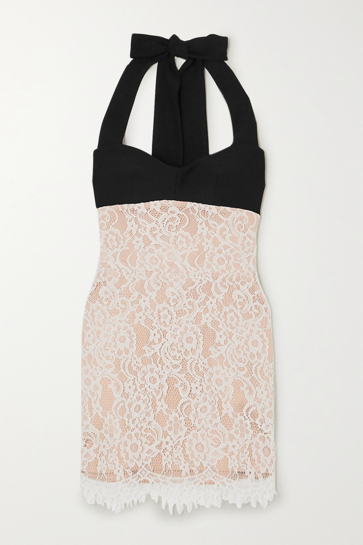 RASARIO Lace and crepe halterneck mini dress