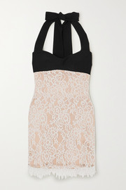 RASARIO Lace and crepe halterneck mini dress