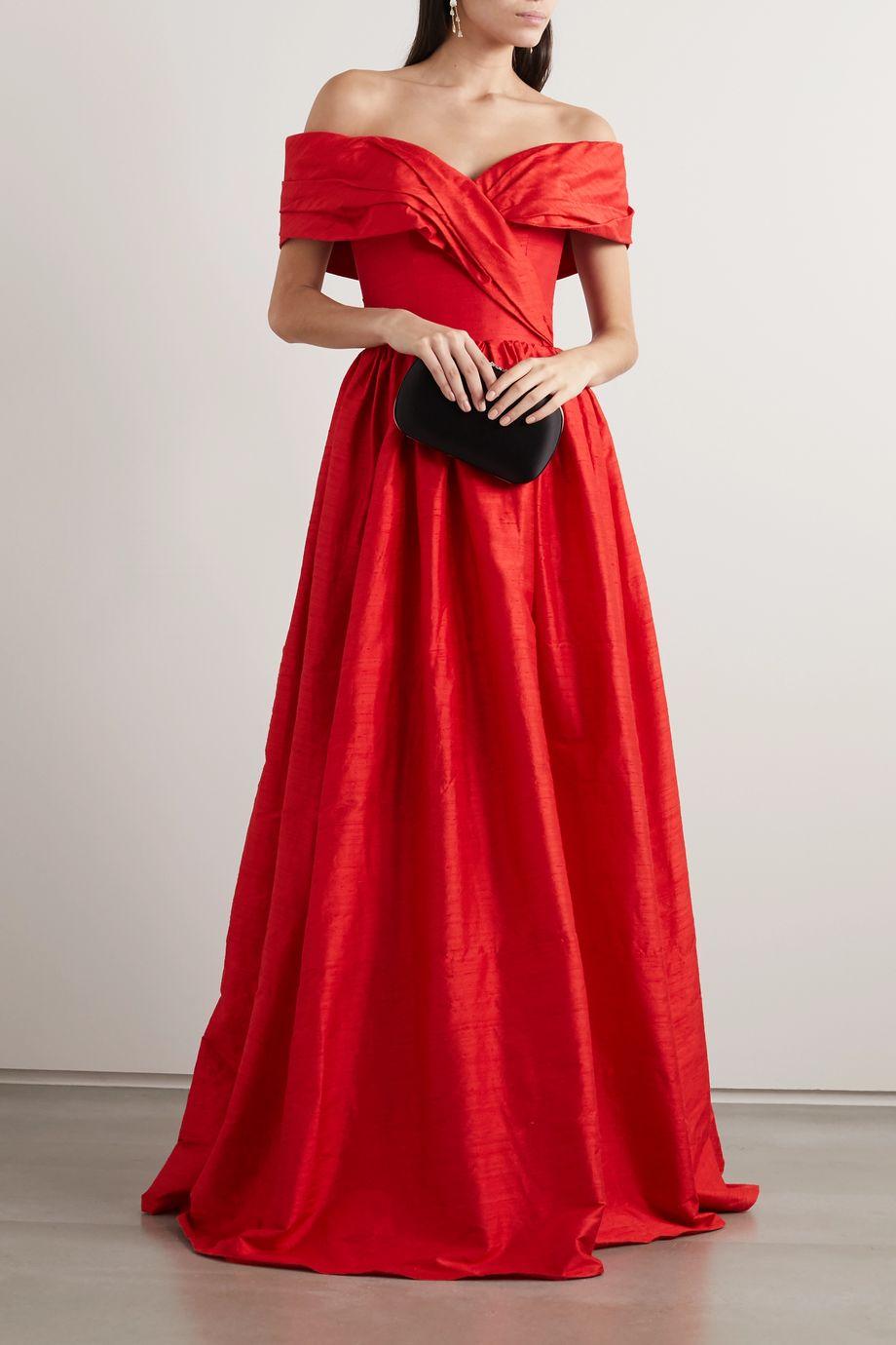 RASARIO Off-the-shoulder silk-shantung gown