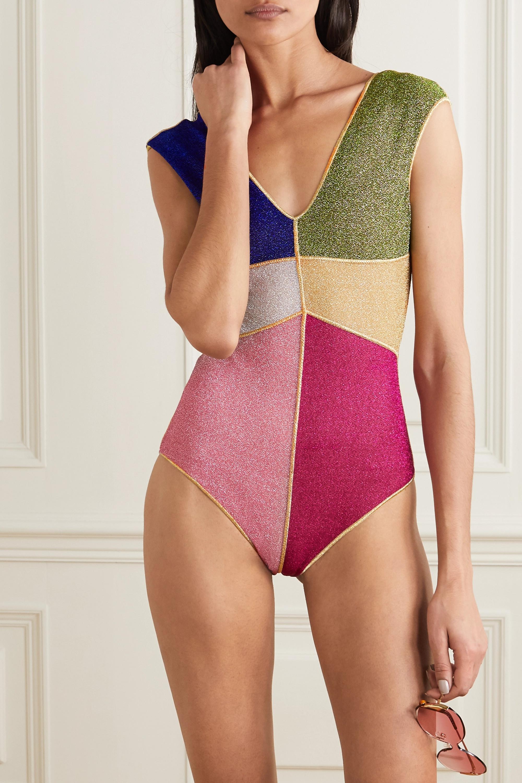 Oséree Color-block stretch-Lurex swimsuit