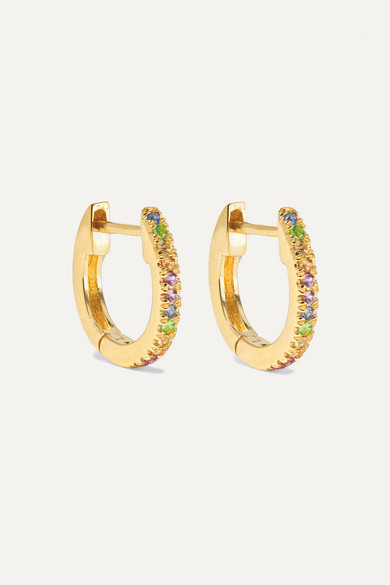 Gold Sapphire Hoop Earrings by Stone And Strand