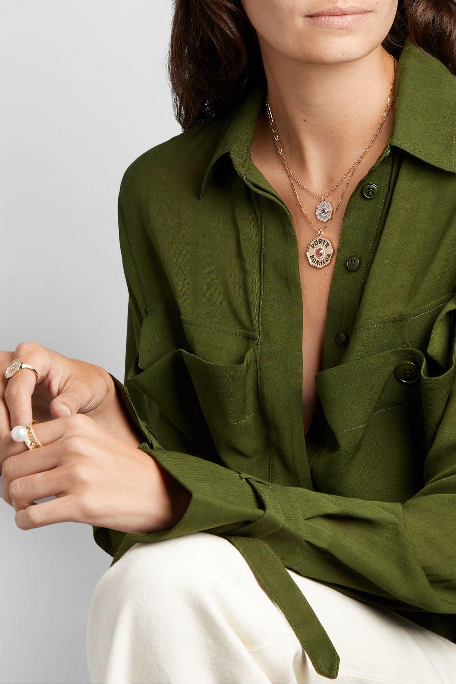 Marlo Laz Coin 14-karat gold, enamel, tourmaline and diamond necklace