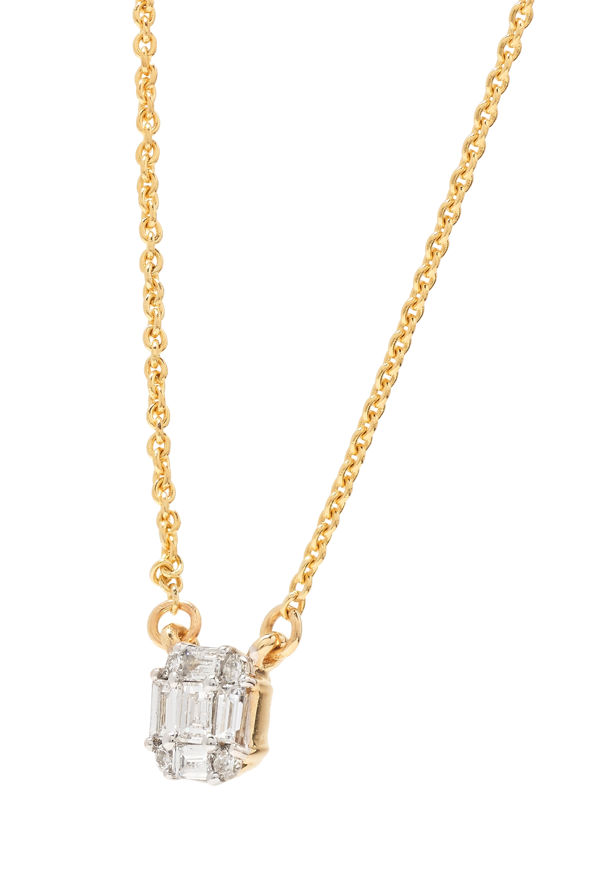 STONE AND STRAND Shield of Strength 14-karat gold diamond necklace