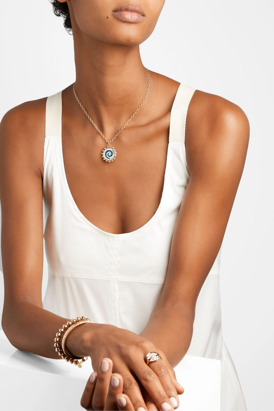 Marlo Laz Tie Dye 14-karat gold, enamel, tanzanite and peridot necklace