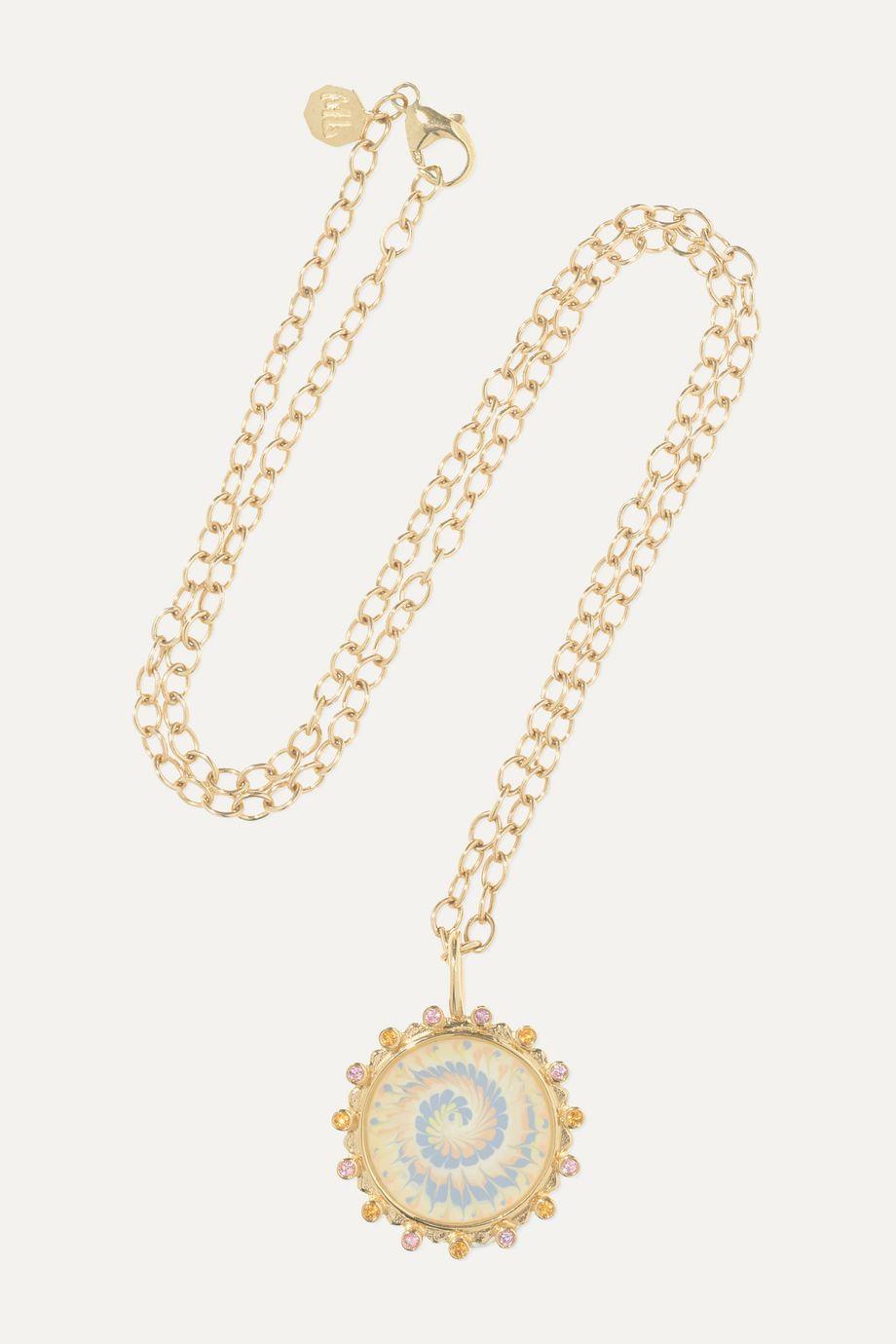 Marlo Laz Tie Die 14-karat gold sapphire necklace