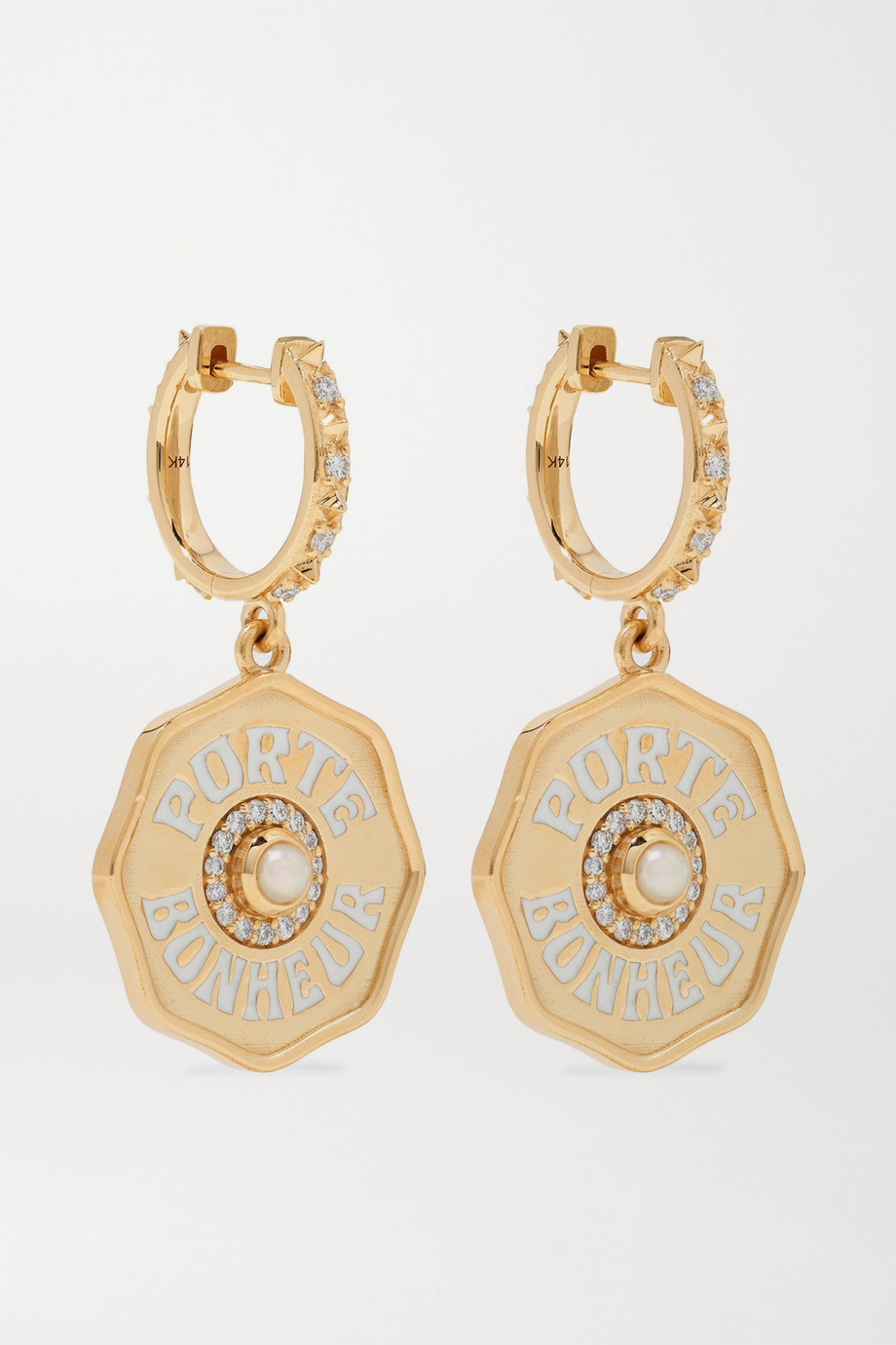 Marlo Laz Mini Porte Bonheur 14-karat gold, enamel, pearl and diamond earrings