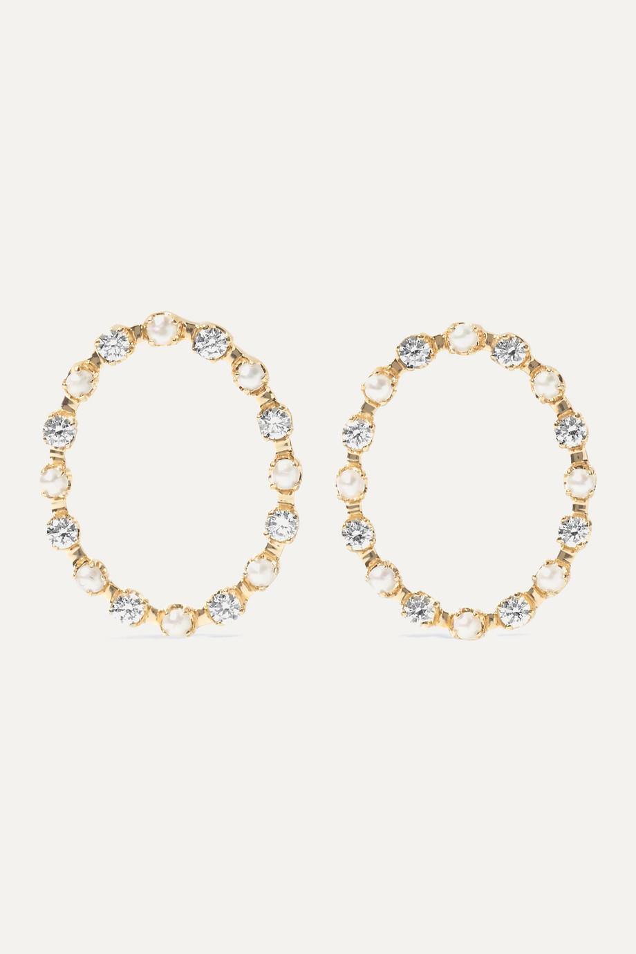 Marlo Laz Full Circle 14-karat gold, diamond and pearl earrings