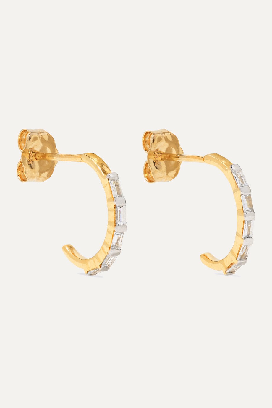 STONE AND STRAND Gold diamond hoop earrings