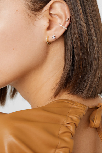 Gold Diamond Hoop Earrings by Stone And Strand