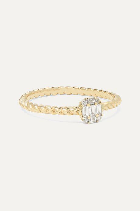 Gold Shield of Strength 14-karat gold diamond ring | STONE AND STRAND QkCEvD