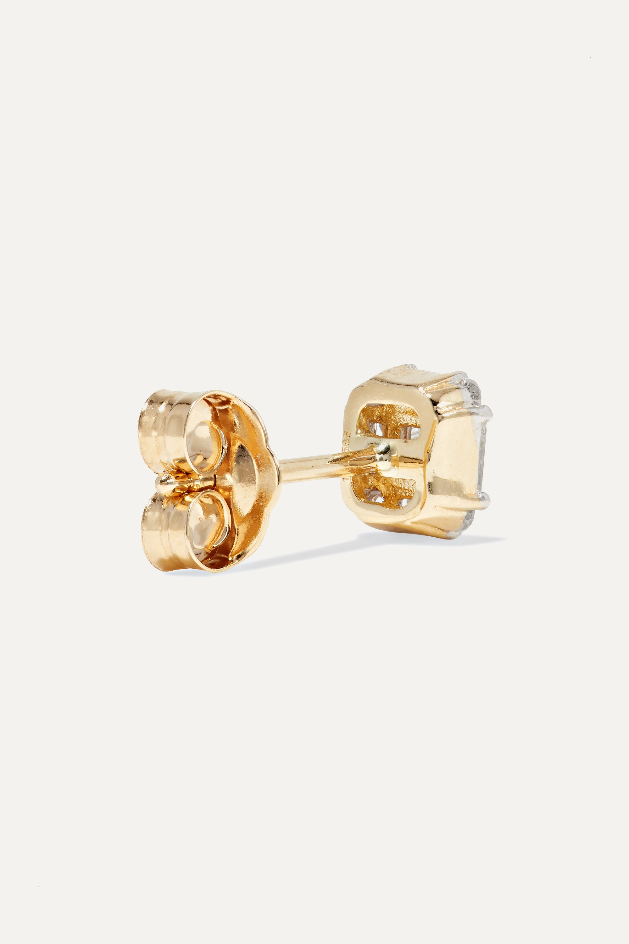 STONE AND STRAND Shield of Strength gold diamond earrings