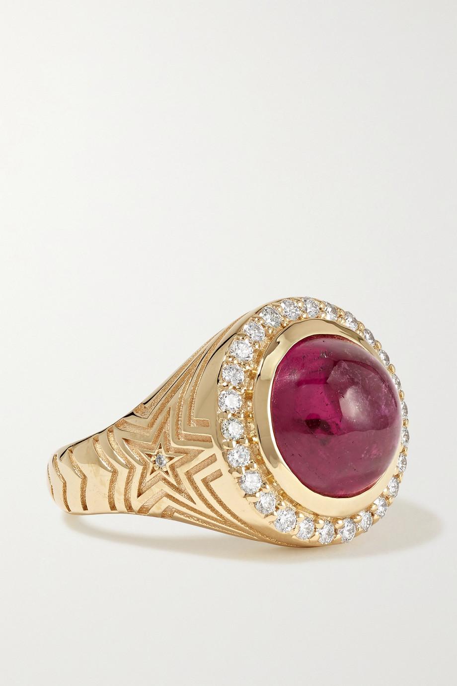 Marlo Laz 14-karat gold, tourmaline and diamond ring