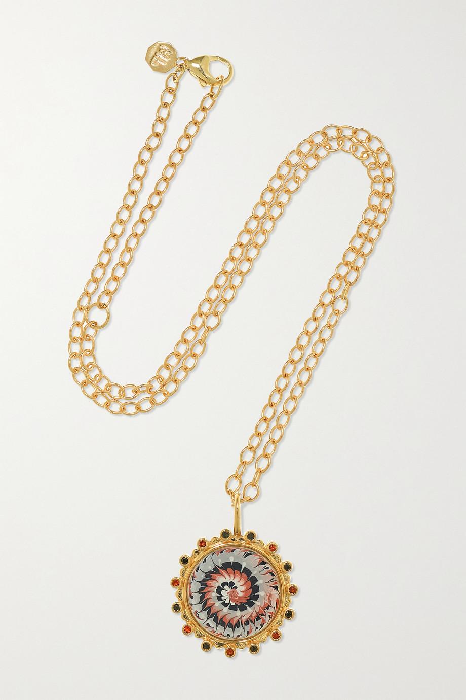 Marlo Laz Tie Dye 14-karat gold, enamel, garnet and diamond necklace