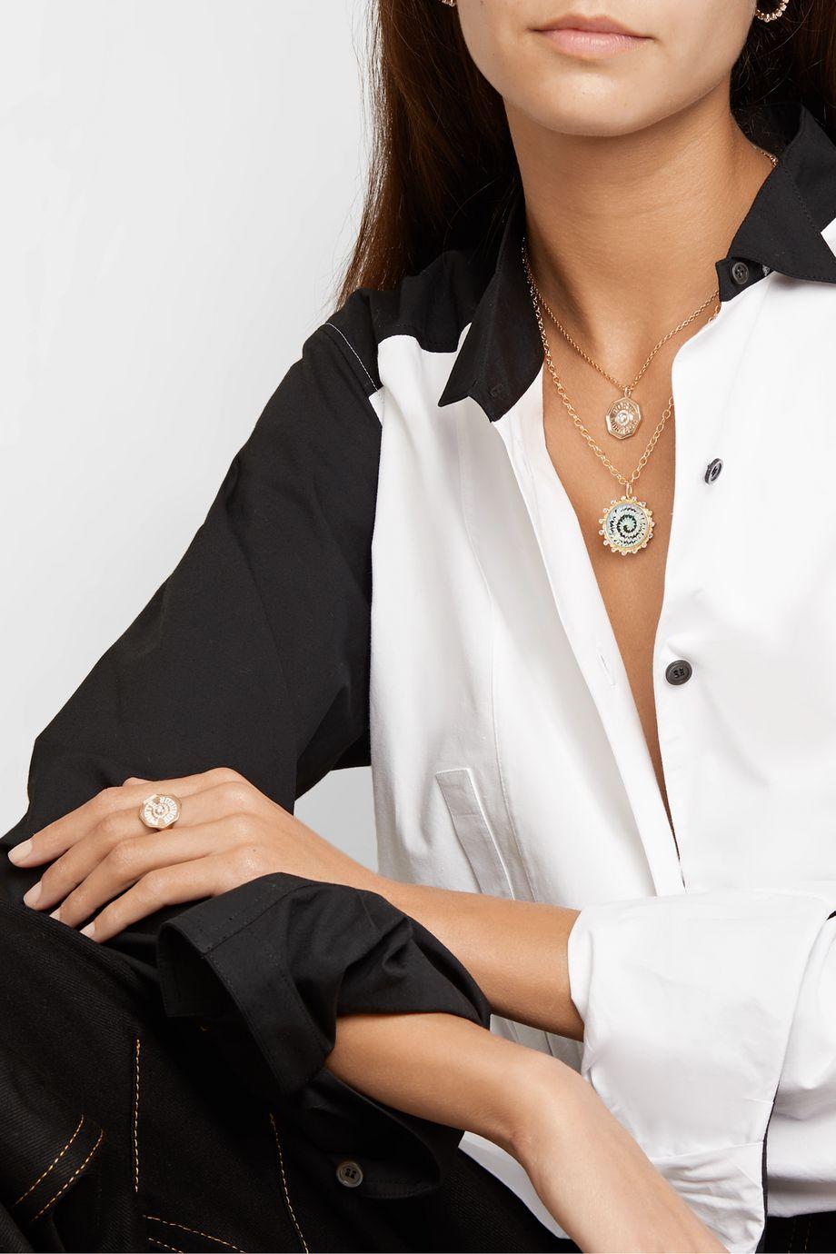 Marlo Laz Tie Dye 14-karat gold, enamel and tanzanite necklace