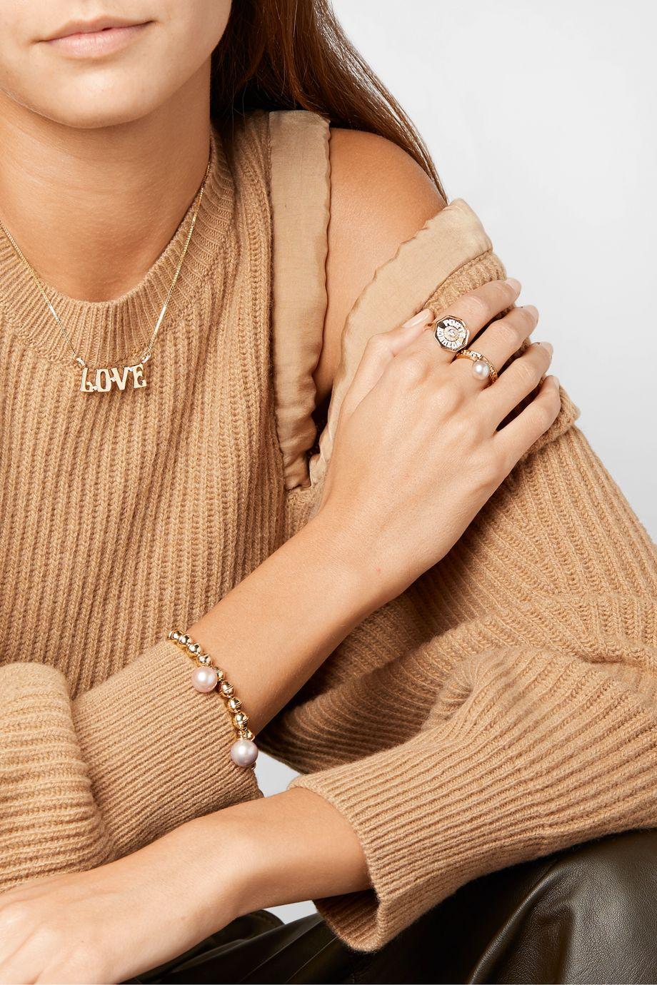 Marlo Laz Dancing 14-karat gold, pearl and diamond ring