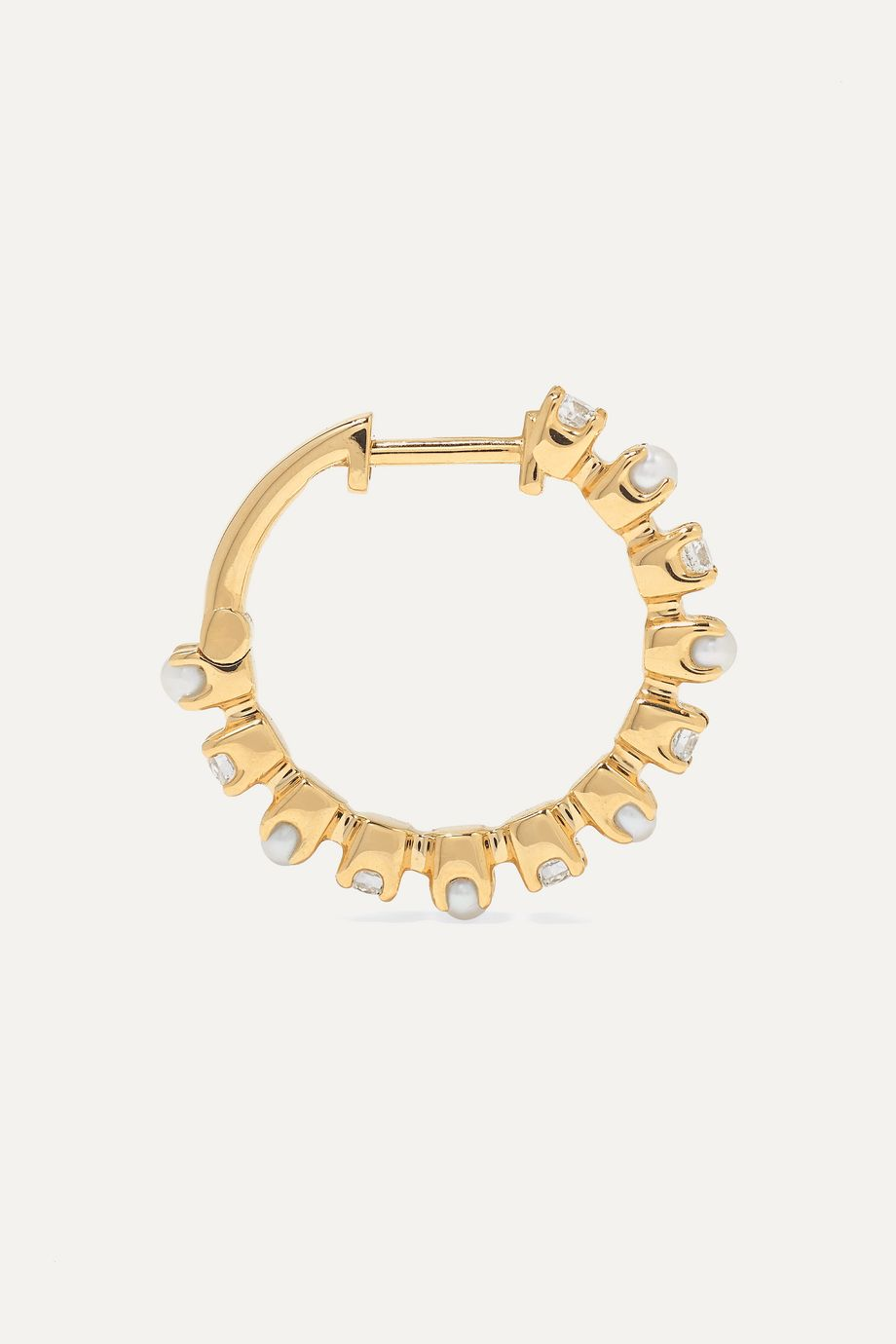 Marlo Laz Mini Full Circle 14-karat gold, diamond and pearl earrings