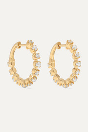 Marlo Laz Mini Full Circle 14-karat gold, diamond and pearl earrings