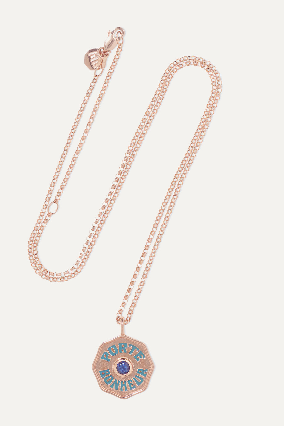 Marlo Laz Mini Coin 14-karat rose gold, enamel and sapphire necklace