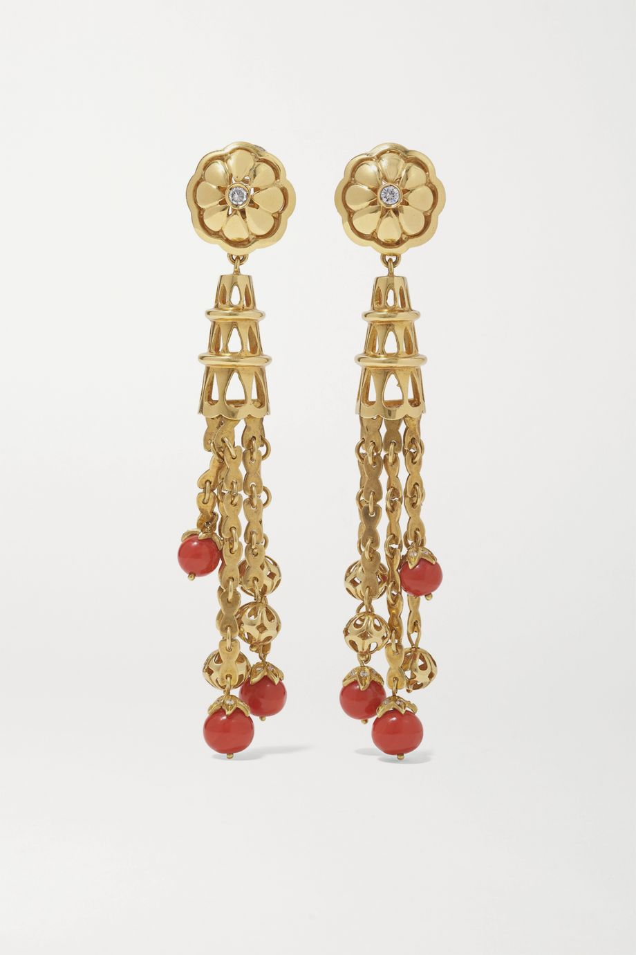 Fred Leighton Mid-20th Century 18-karat gold, coral and diamond earrings