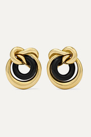 1980s Tiffany & Co. 18-karat gold onyx clip earrings