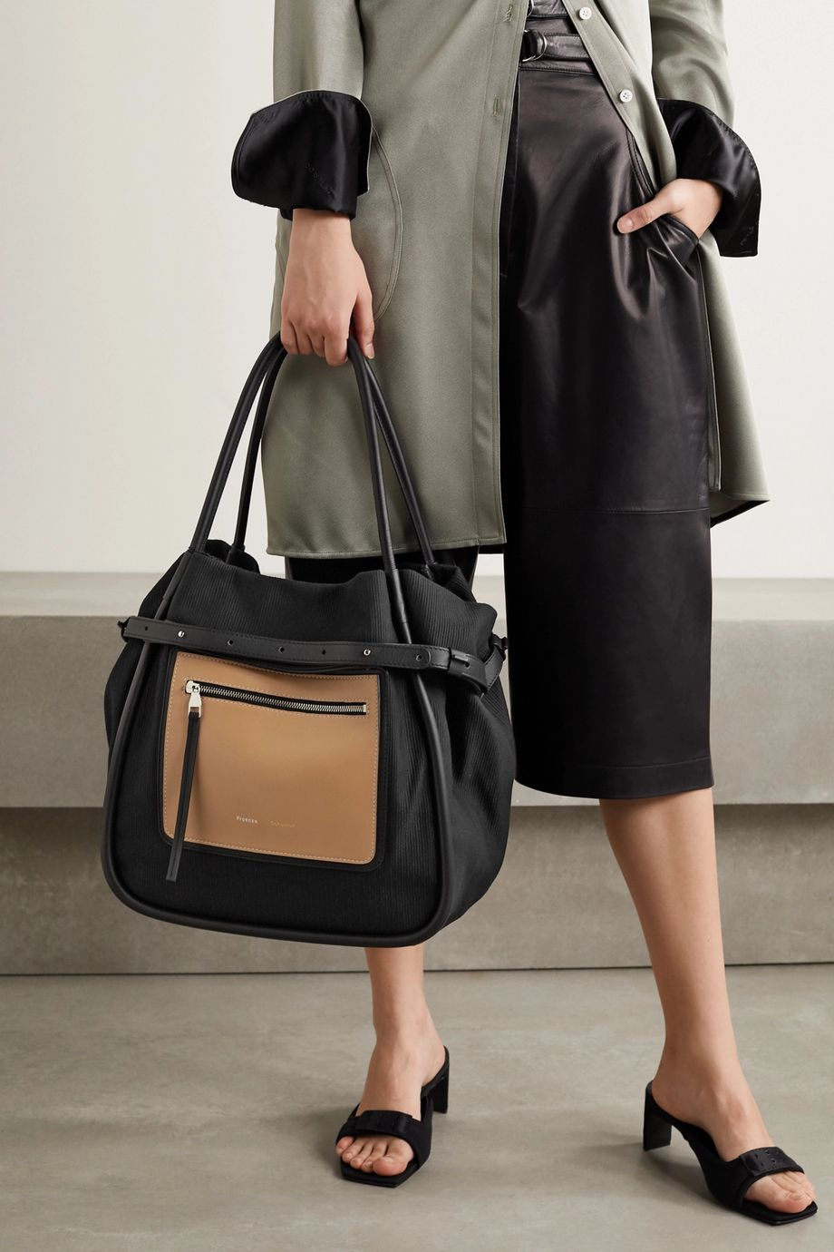 Proenza Schouler Inside Out leather-trimmed cotton-drill tote